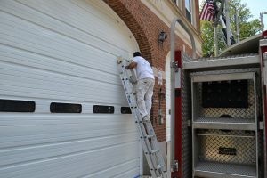 Painting Firehouse Doors
