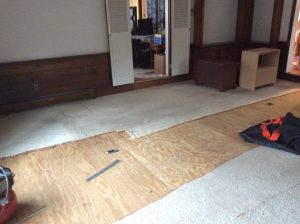 Before Carpet Removal and Hardwood Floor Installation by Monk's Home Improvements