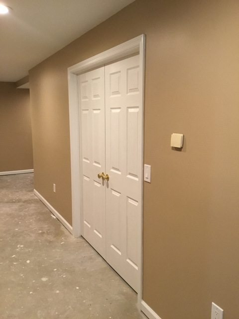 Basement hallway finishing in chester nj monk 39 s home for Basement double door