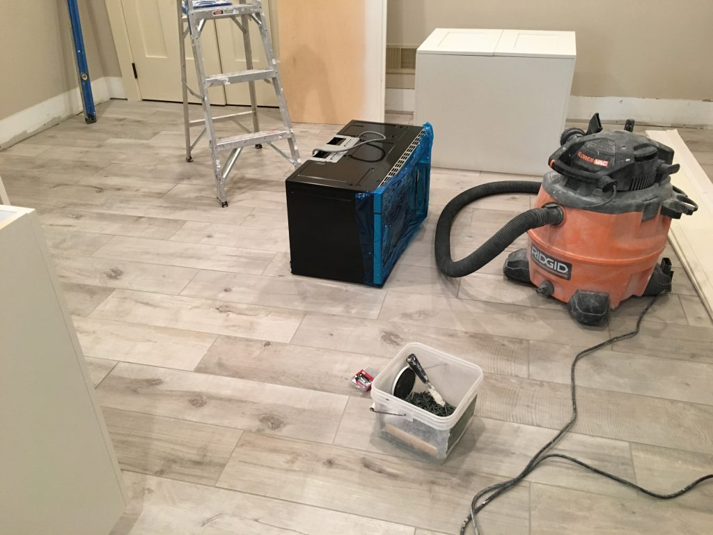 Porcelain Plank Style Flooring Installed by Monk's