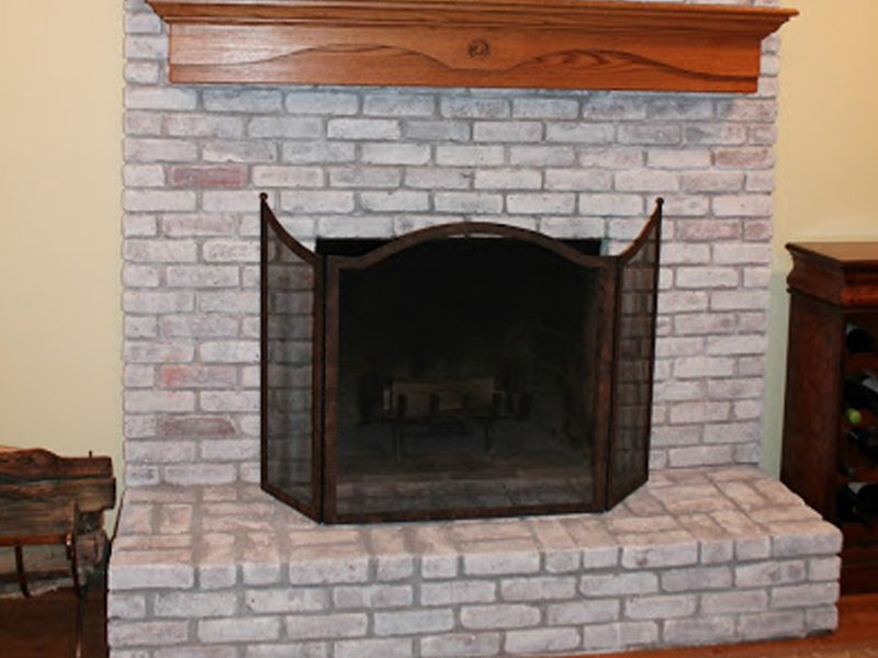After Whitewashing Brick Fireplace in NJ