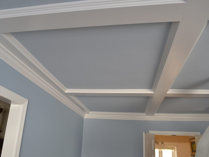 Coffered Ceiling Installation and Paint