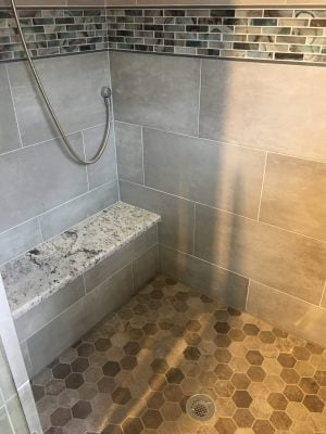 Shower Bench and Multiple Tile Patterns