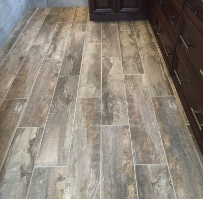 Faux wood tile installation