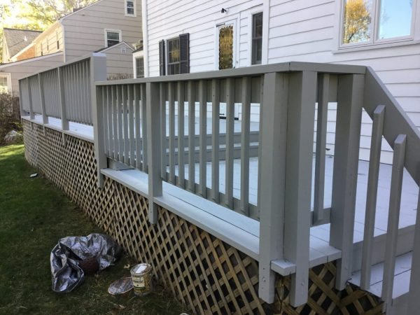 Railing after Applying Solid Stain