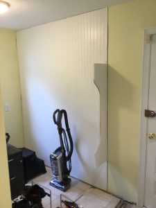 Mudroom Nook Before Built in Storage