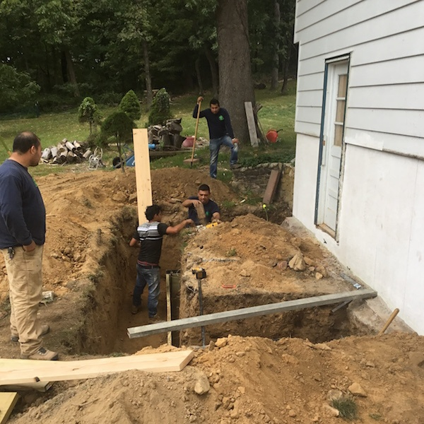 Two story addition in morristown nj monk 39 s home improvements for Digging foundation for house