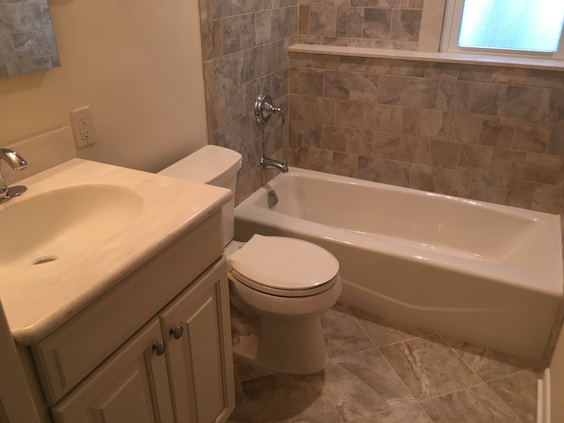 New Hallway Bathroom Remodel After Termite Damage in Morris Plains