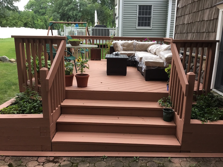 Solid Stain Applied to Wood Deck in Madison NJ