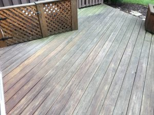 Deck Floorboards and AC Box Before Resurfacing