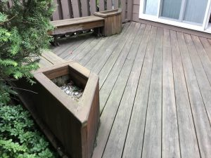 Deck with Corner Benches Before Resurfacing