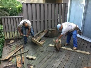 Removing the Rotted Bench