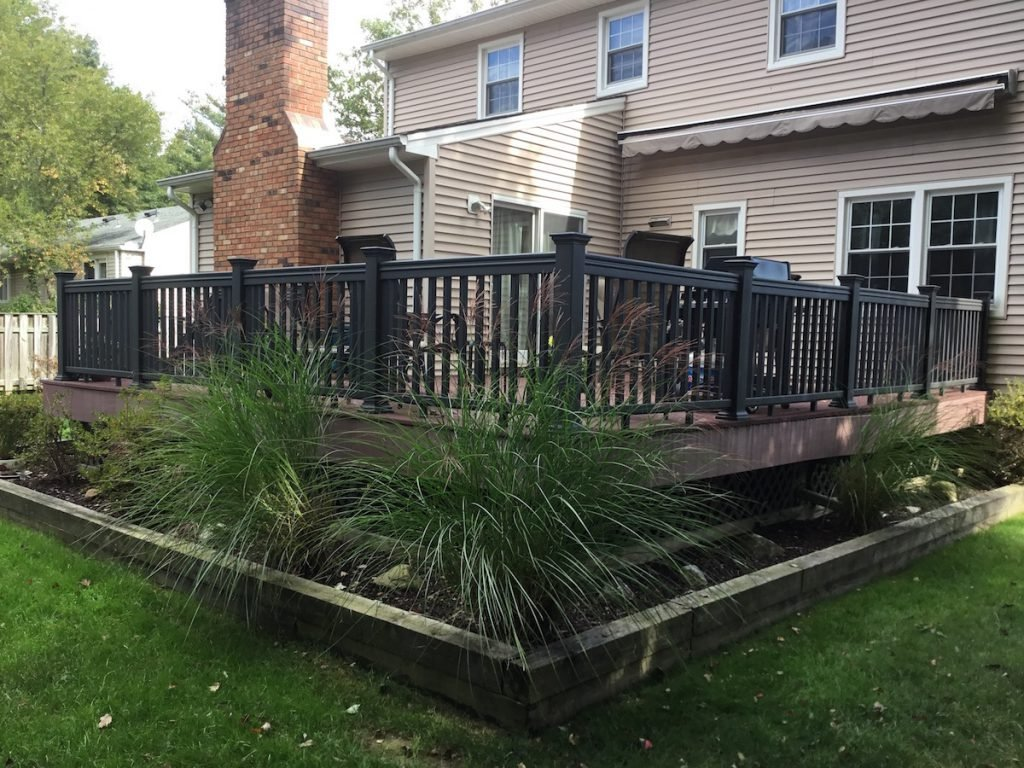 Freshly painted composite deck railings