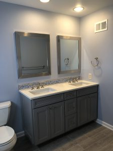 New Double Vanity and Faux Wood Floor Tile