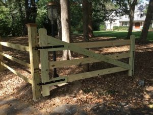 New Wood Gate Adjacent to Split-Rail Fence