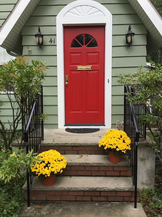 New Red Front Door Says Welcome Monk S Home Improvements