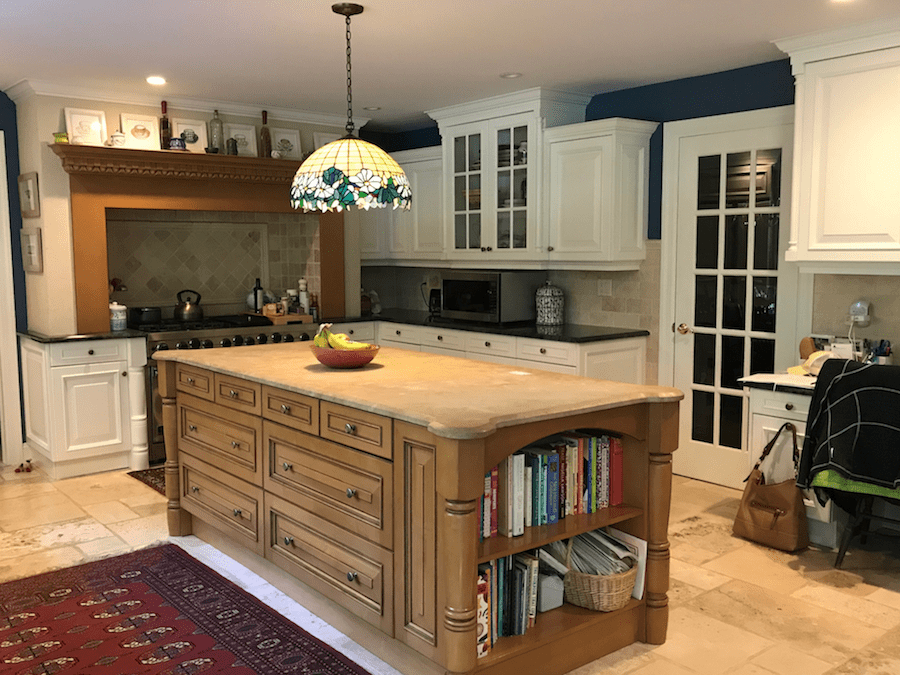 Light Brown Maple To Bright White Kitchen Cabinets Island And Range Trim Retained The Color