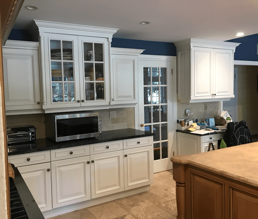 Kitchen Cabinet Refacing Nj: White Kitchen Cabinets Paired With Navy Walls