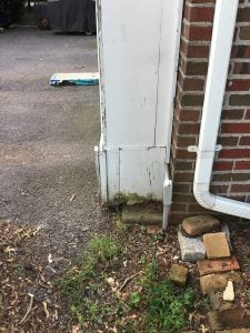 Side view of rotted trim