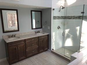 New Vanity, Mirrors, Flooring and Shower