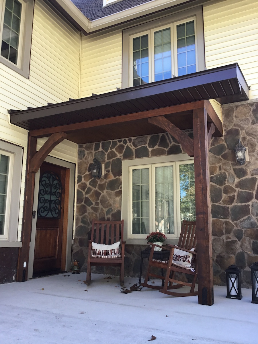 Cedar Posts And Brackets On Craftsman Style Overhang