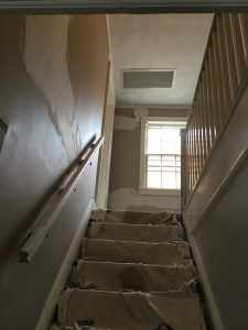 Patched and plastered staircase