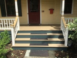 After porch steps rebuild and built to match railings