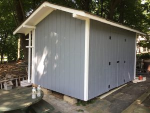 Shed After Being Painted Blue