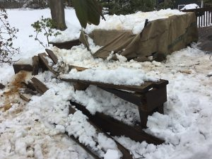 Destroyed Bench and Deck From Fallen Tree