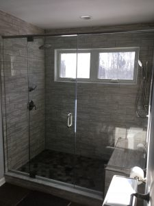 New shower with bench and dual shower heads