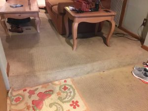 Stair with carpet before removal