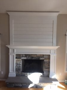 New Shiplap Mantel and Bluestone Hearth