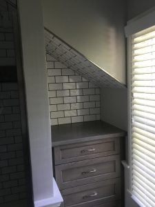 Tiled Back Nook with New Cabinet and Cement Top