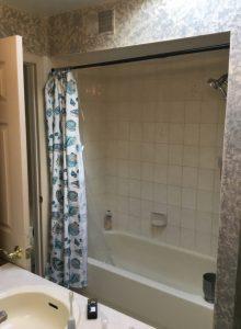 Shower over Tub Before Hallway Bath Renovation