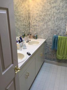Before: Laminate Vanity with Drop In Sinks