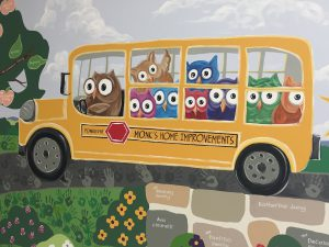 Cedar Hill School Mural - Monk's Bus