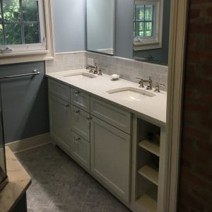 Exposed Brick Wall and Double Vanity