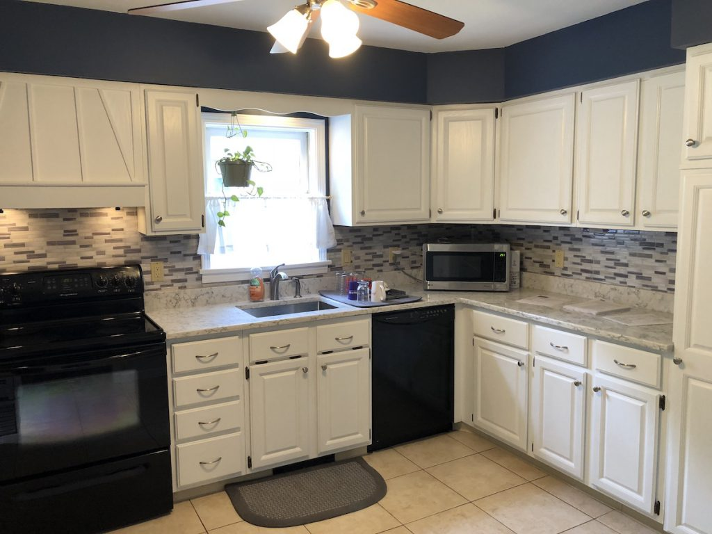 Cabinets Painted White And New Countertops Monk S In Nj