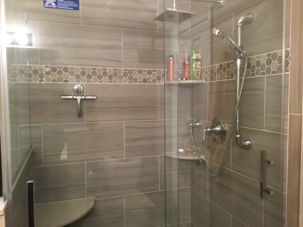 New Shower with Rain and Handheld Shower Heads