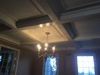 Detail of Coffered Ceiling in Dining Room