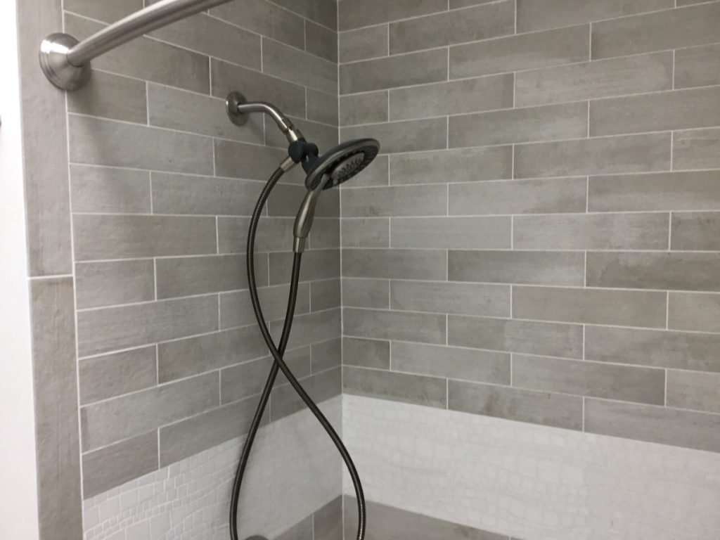 Cement-Look Tile Shower over Tub