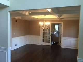 New Wainscoting and Coffered Ceiling in Dining Room