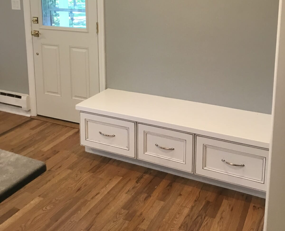 Bench Built From Matching Cabinetry