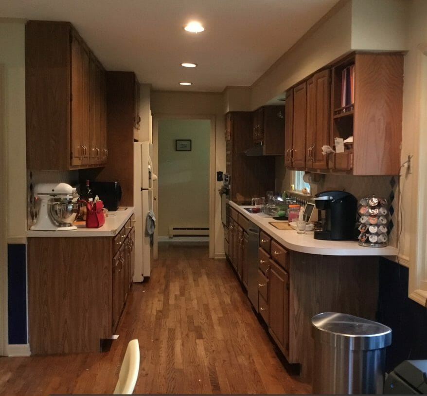 Dated Galley Kitchen Before Renovation