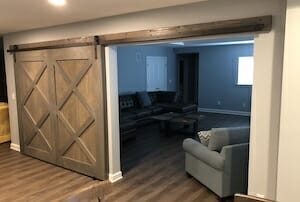 Basement Remodel with Custom Barn Door