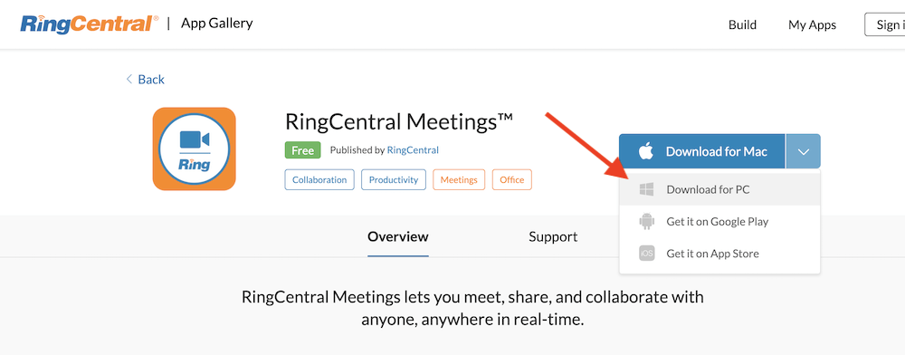 RingCentral Meetings on PC